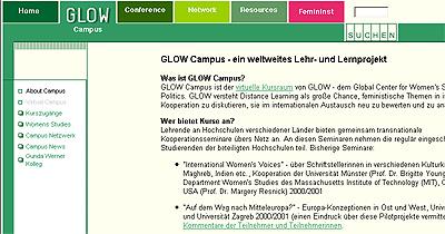 Screenshot der GLOW Campus-Homepage